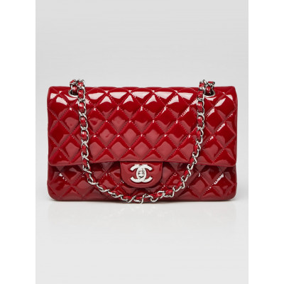 Chanel Red Quilted Patent Leather Classic Medium Double Flap Bag