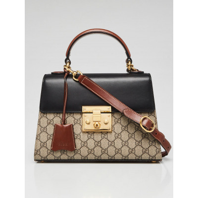 Gucci Black GG Supreme Coated Canvas and Leather Signature Padlock Small Top Handle Bag