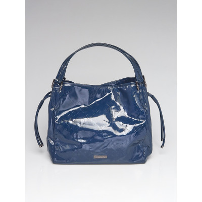 Burberry Blue Check Embossed Patent Leather Canterbury Tote Bag