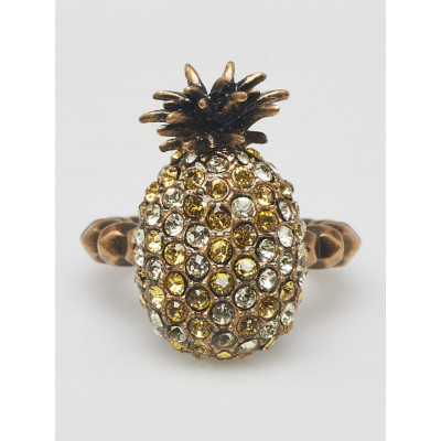 Gucci Jonquil and Topaz Crystal Studded Pineapple Ring Size 5
