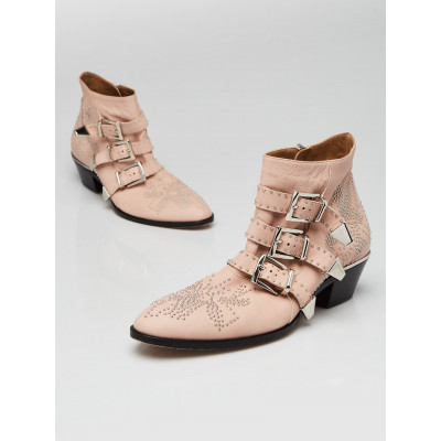 Chloe Light Pink Leather Studded Susanna Ankle Boots Size 9/39.5
