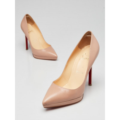 Christian Louboutin Beige Kid Leather Pigalle 120 Pumps Size 6/36.5