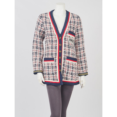 Gucci Blue/Red Cotton Tweed GG Jacket Size M