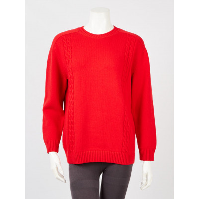 Gucci Red Wool Cable Knit Sweater Size S