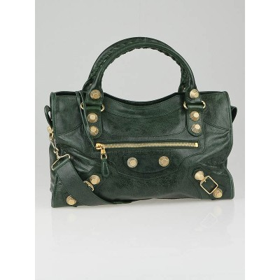 Balenciaga Emerald Lambskin Leather Giant 21 Gold Motorcycle City Bag