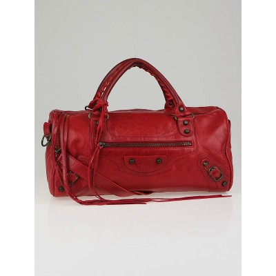 Balenciaga Rouge Vif Chevre Leather Motorcycle Twiggy Bag