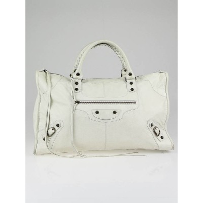 Balenciaga White Chevre Leather Work Bag