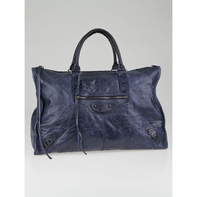 Balenciaga Marine Lambskin Leather Weekender Bag