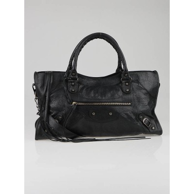Balenciaga Black Lambskin Leather Motorcycle Part-Time Bag