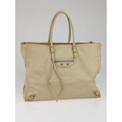 Balenciaga Latte Calfskin Leather Papier A4 Tote Bag
