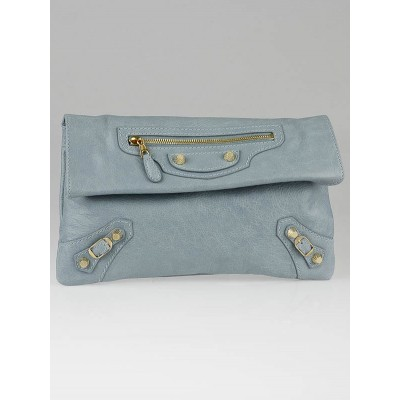 Balenciaga Bleu Acier Lambskin Leather Giant 12 Gold Envelope Clutch Bag