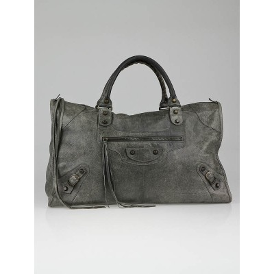 Balenciaga Dark Grey Chevre Leather Work Bag