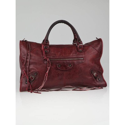 Balenciaga Grenat Chevre Leather Work Bag