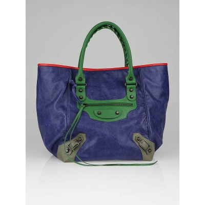 Balenciaga Tri-Color Lambskin Leather Small Sunday Tote Bag