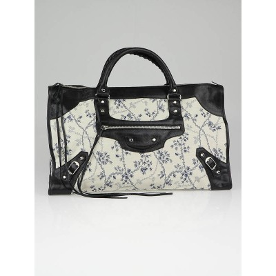 Balenciaga Floral Cotton and Black Chevre Leather Work Bag
