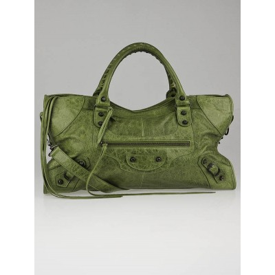 Balenciaga Light Olive Lambskin Leather Motorcycle Part-Time Bag