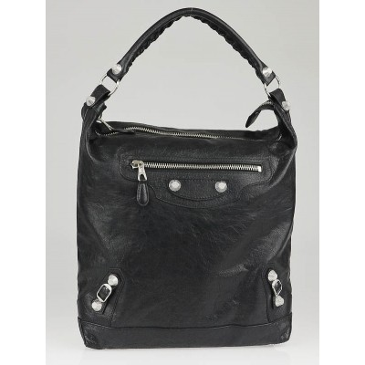 Balenciaga Black Lambskin Leather Giant 12 Silver Day Bag