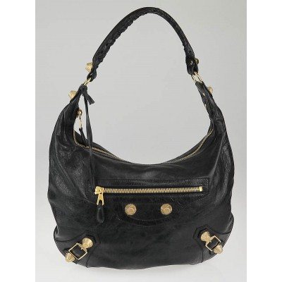 Balenciaga Black Chevre Leather Giant 21 Gold Hobo Bag