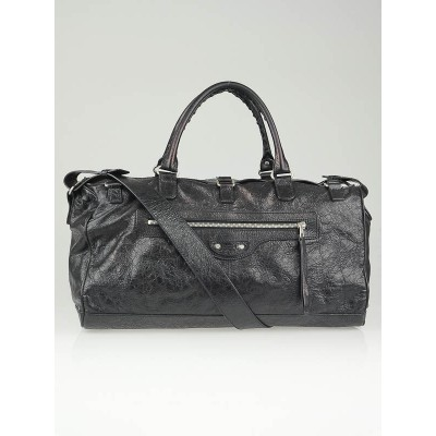 Balenciaga Black Lambskin Leather Squash M Duffle Bag
