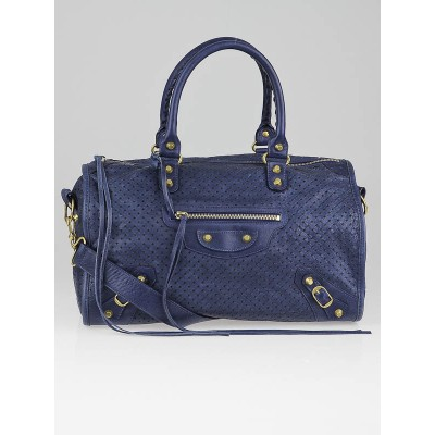 Balenciaga Blue Roi Cross Perforated Leather Maxi Twiggy Bag