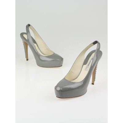Brian Atwood Grey Patent Leather Chain-Trim Slingbacks Size 9.5/40