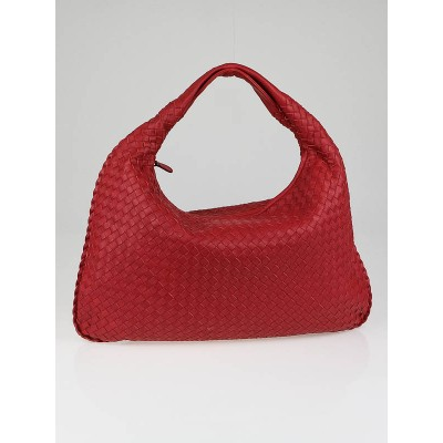 Bottega Veneta Blood Red Large Veneta Woven Hobo Bag