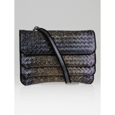 Bottega Veneta Chalk/Black Iridescent Scarabee Snakeskin Crossbody Bag