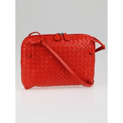 Bottega Red Woven Leather Cross-Body Bag