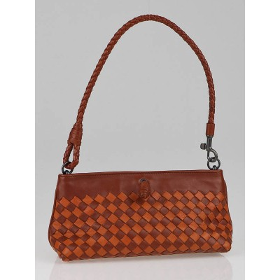 Bottega Veneta Brown/Orange Intrecciato Leather Mini Shoulder Bag