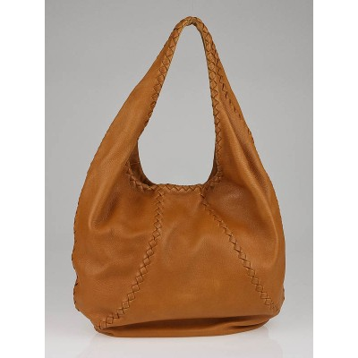 Bottega Veneta Cinnamon Cervo Leather Baseball Hobo Bag