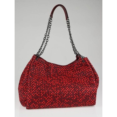 Bottega Veneta Red/Burgundy Intrecciato Leather Oversized Shopper Tote Bag