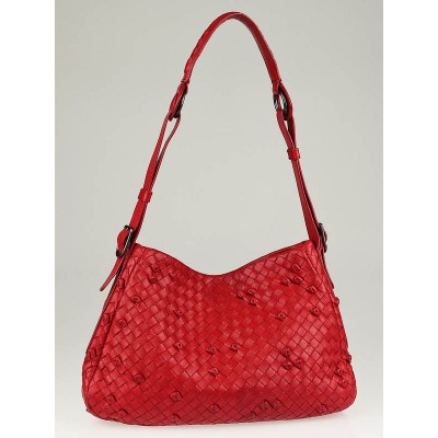 Bottega Veneta Red Nappa Intrecciato Woven Leather Naruto Knot Small Hobo Bag