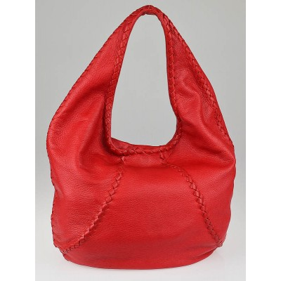 Bottega Veneta Fever Red Cervo Leather Hobo Bag