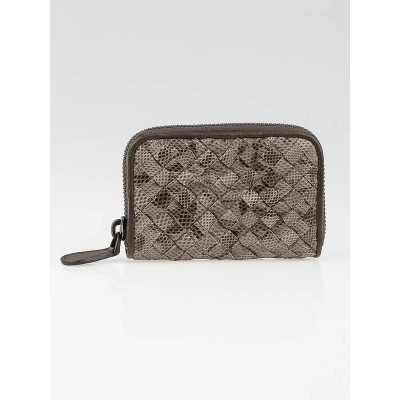 Bottega Veneta Grey Karung Intrecciato Zippy Coin Purse