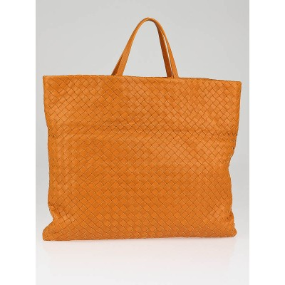Bottega Veneta Persimmon Intrecciato Woven Leather Fold Over Tote Bag