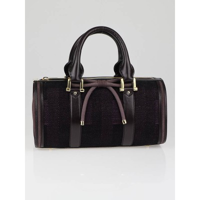 Burberry Prorsum Plum Check Jacquard Tweed Medium Barrel Bag