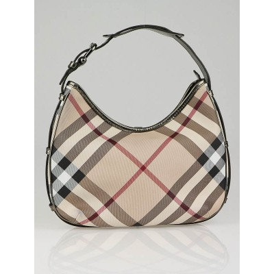 Burberry Nova Check Coated Canvas Small Barton Hobo Bag