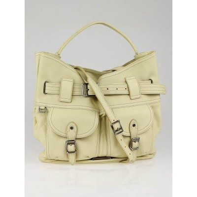 Burberry Camomile Leather Front Pocket Crompton Shoulder Bag