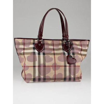 Burberry Berry Patent Leather Supernova Check Canvas Heart Large Tote Bag
