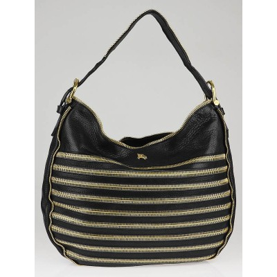 Burberry Prorsum Black Leather Gold Zipper Malika Hobo Bag
