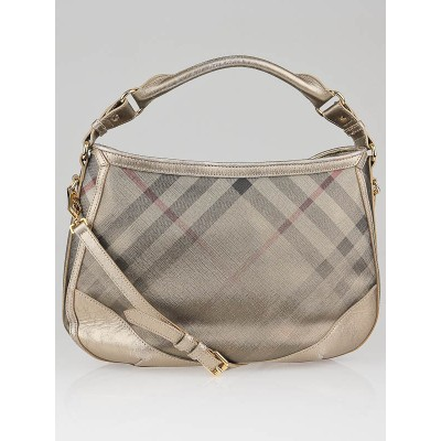 Burberry Nude Metallic Check Medium Bartow Hobo Bag