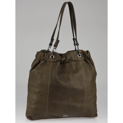 Burberry Brown Lambskin Leather Cinched Tote Bag