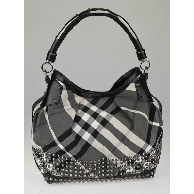 Burberry Beat Check Nylon Studded Hobo Bag
