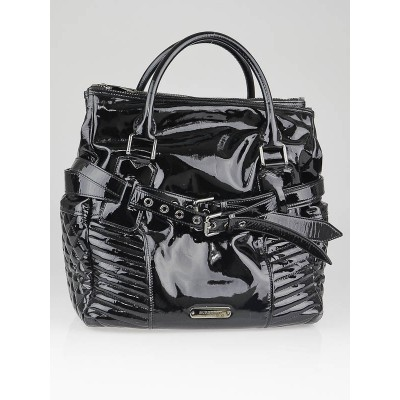 Burberry Black Patent Leather Extra Large Ribbed Biker Motorcycle Bag