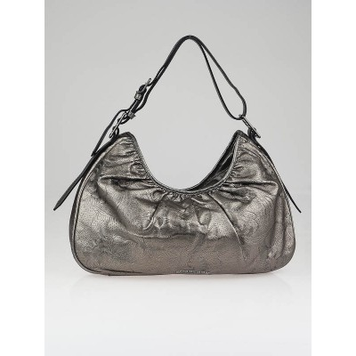 Burberry Metallic Silver Floral Perforated Leather Avondale Hobo Bag