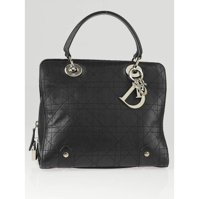 Christian Dior Black Cannage Leather Soft Lady Dior Small Bag