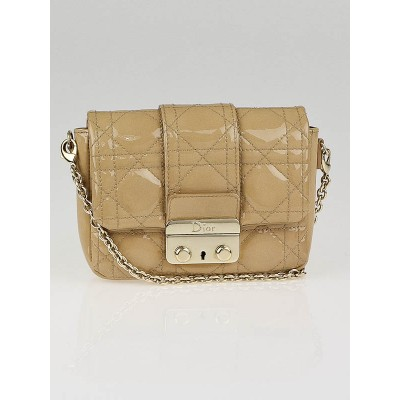 Christian Dior Beige Cannage Quilted Patent Leather Lady Dior New Lock Mini Flap Bag