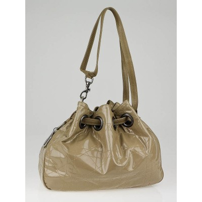 Christian Dior Beige Quilted Patent Leather Cannage Medium Drawstring Tote Bag