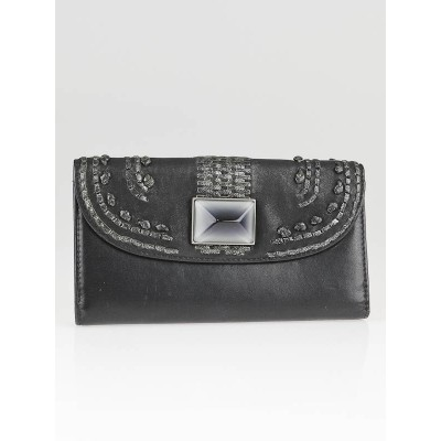 Christian Dior Black Lambskin Leather Plisse Wallet