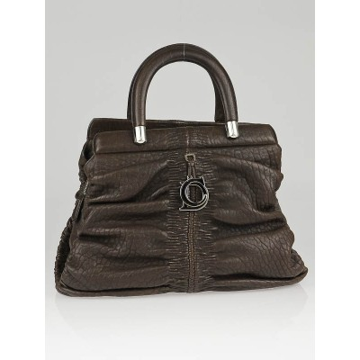 Christian Dior Brown Lambskin Leather Karenina Frame Tote Bag